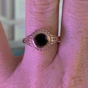 Rose Gold, Onyx, CZ ring